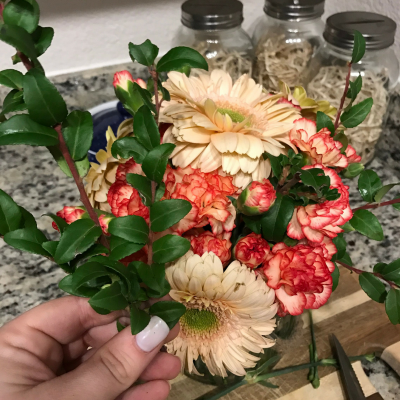 Add greenery to your Easy Flower Arrangement for an Apartment