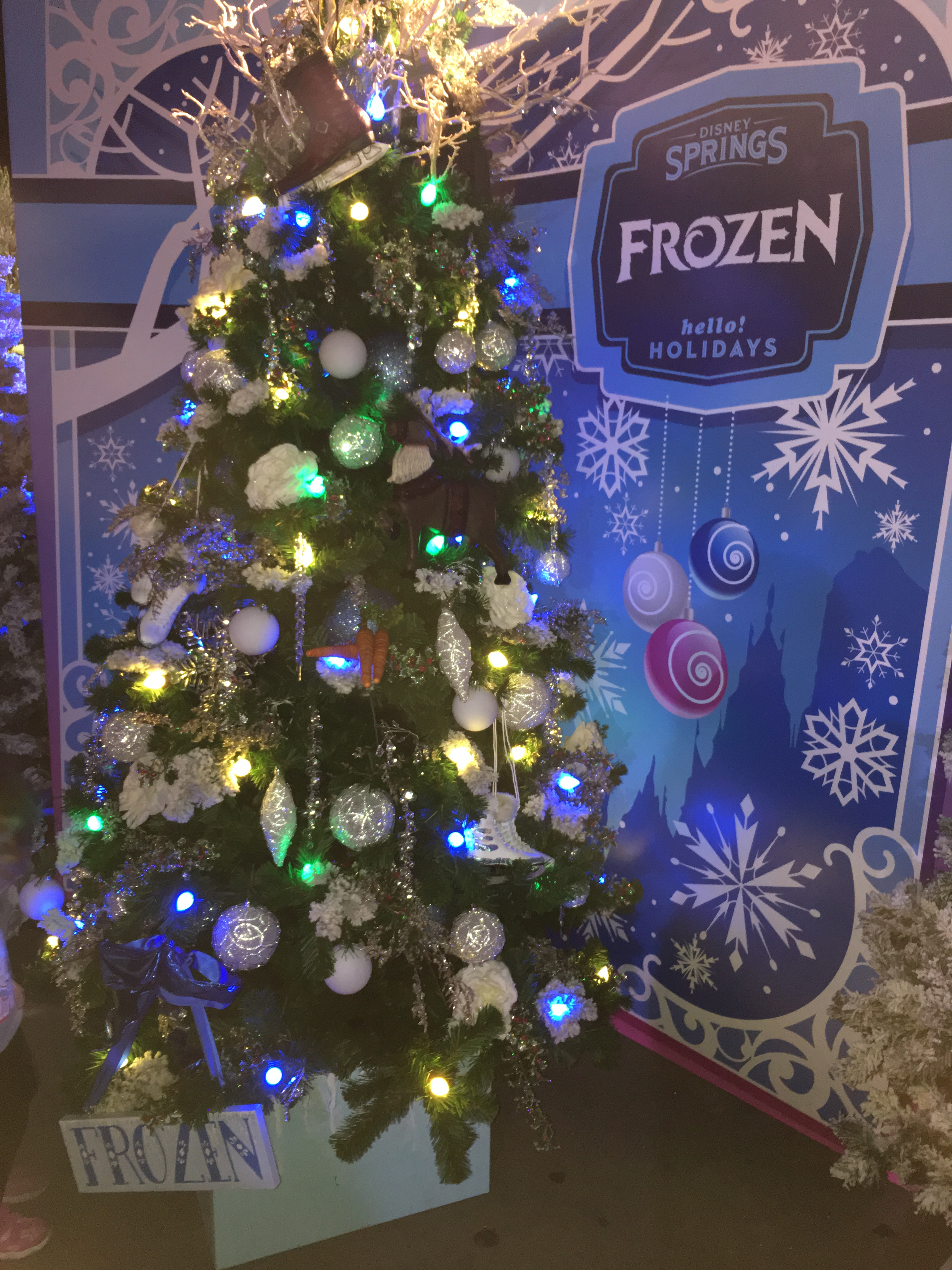 Frozen Holiday Tree Trail at Disney Springs Orlando FL